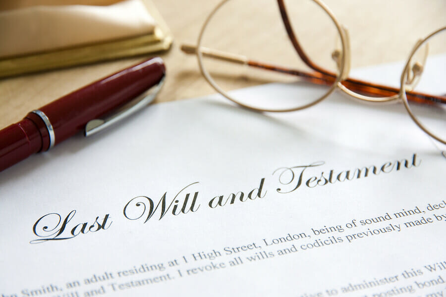 Last Will and Testament complete with spectacles and pen