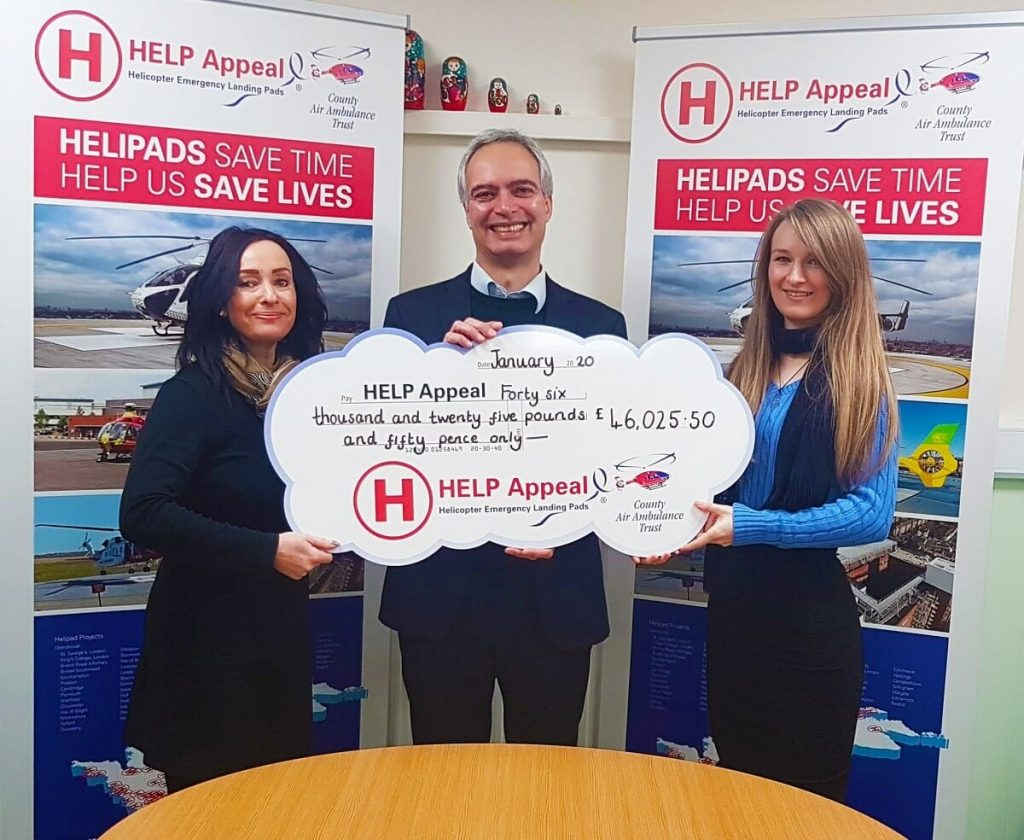 Sue Spilsbury, Wills & Legal Services Charity Marketing Coordinator, Jason Dennis, from the HELP Appeal's fundraising executive team, and Kaylee Cubberley, Wills & Legal Services Estate Administrator.